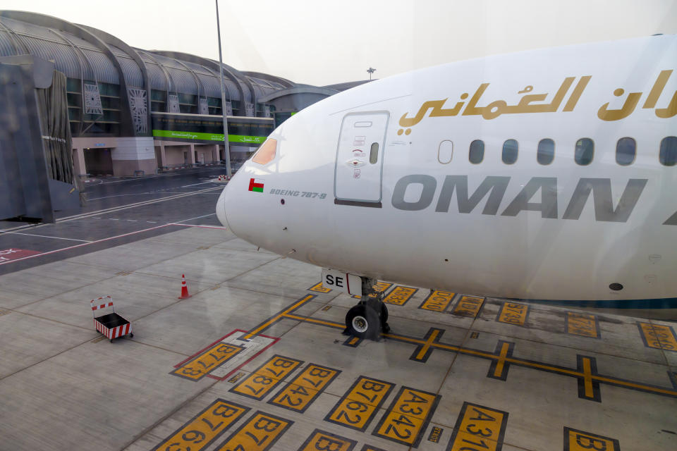 Muscat, Oman, picture dated 31 September 2018 Muscat new airport with Oman air planes.
