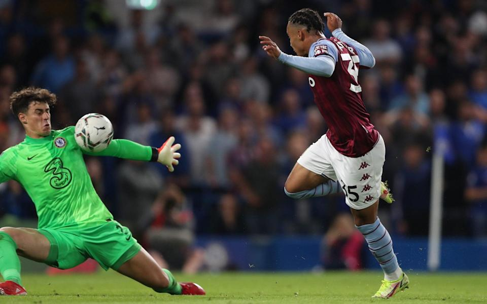 Cameron Archer of Aston Villa has an effort saved by goalkeeper Kepa Arrizabalaga of Chelsea during the Carabao Cup Third Round match between Chelsea and Aston Villa at Stamford Bridg - James Williamson - AMA/Getty Images
