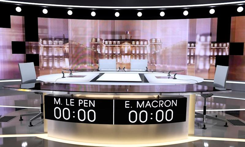 The set for the 2017 French presidential debate.