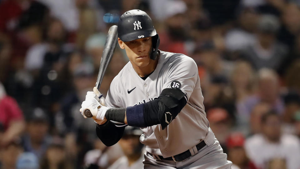 New York Yankees' Aaron Judge plays against the Boston Red Sox during the seventh inning of a baseball game, Friday, June 25, 2021, in Boston. (AP Photo/Michael Dwyer)