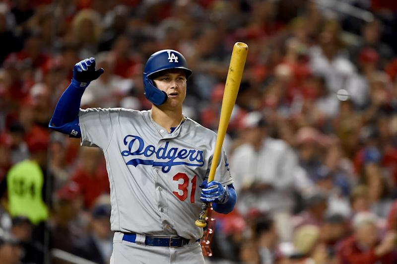 WASHINGTON, DC - OCTOBER 06: Joc Pederson #31 of the Los Angeles Dodgers at bat against the Washington Nationals in game three of the National League Division Series at Nationals Park on October 6, 2019 in Washington, DC. (Photo by Will Newton/Getty Images)