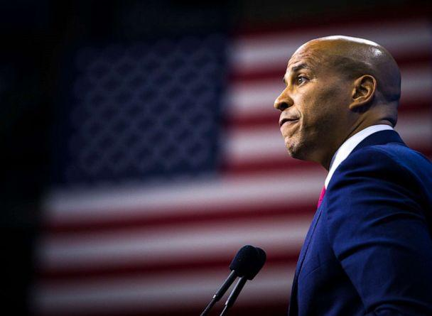 PHOTO: U.S. Senator Cory Booker speaks during the New Hampshire Democratic Party State Convention at the SNHU Arena in Manchester, NH on Sep. 7, 2019. (Nic Antaya/The Boston Globe via Getty Images)