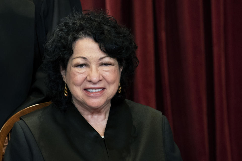 FILE - In this April 23, 2021, file photo Associate Justice Sonia Sotomayor sits during a group photo at the Supreme Court in Washington. Acknowledging the limits of her own influence on the law as a member of the Supreme Court's liberal minority, Sotomayor on Wednesday, Sept. 29, encouraged citizens to work to change laws they may disagree with, like a recent Texas law that limits access to abortions. (Erin Schaff/The New York Times via AP, Pool, File)