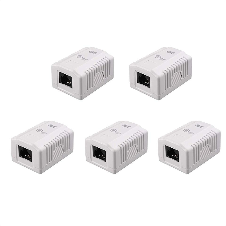 """<h2>Cable Matters UL Listed 5-Pack RJ45 Surface Mount Box</h2><br><strong>Best Used For: </strong>Installing ports on baseboards for wiring Ethernet throughout a house<strong><br><br>The Hype:</strong> 4.7 out of 5 stars and 330 ratings<strong><br><br>Practical Peeps say: """"</strong>Great for mounting baseboard Ethernet jacks to the wall. These jacks are white plastic and blend in well with white walls. Mounting it was easy with the 2 included screws and punching the CAT6 cable down was easy with the guide on the box. Excellent value if you cannot run ethernet through walls.<strong>""""</strong><br><br><em>Shop <strong><a href=""""https://amzn.to/3znhmMw"""" rel=""""nofollow noopener"""" target=""""_blank"""" data-ylk=""""slk:Amazon"""" class=""""link rapid-noclick-resp"""">Amazon</a></strong></em><br><br><strong>Cable Matters</strong> UL Listed 5-Pack RJ45 Surface Mount Box, $, available at <a href=""""https://www.amazon.com/gp/product/B00IO3H88C"""" rel=""""nofollow noopener"""" target=""""_blank"""" data-ylk=""""slk:Amazon"""" class=""""link rapid-noclick-resp"""">Amazon</a>"""