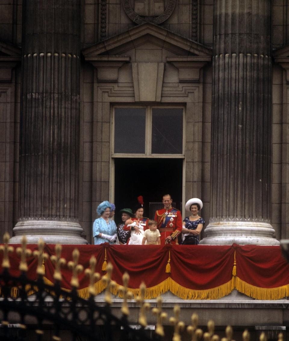 <p>The Royal Family, comprised of the Queen Mother, the Queen, Prince Andrew, the Duke of Edinburgh, Princess Alexandra and 12-week old Prince Edward stand on the balcony of Buckingham Palace. (PA Archive) </p>