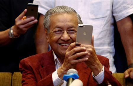 Mahathir Mohamad attends a news conference after general election, in Petaling Jaya