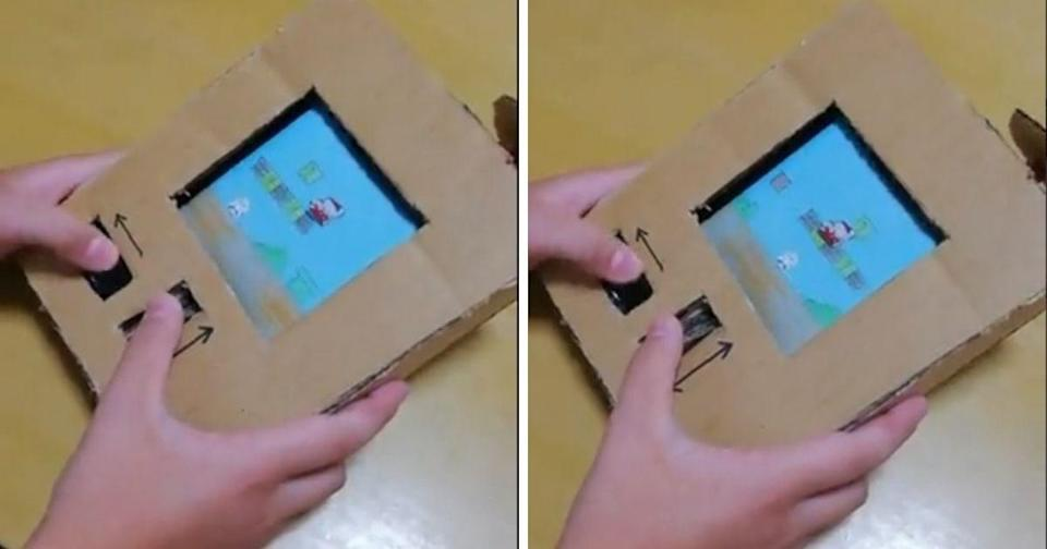 <p>A creative child in Japan managed to make a rudimentary Mario game boy from a cardboard box and his own drawings. (Photos courtesy of @twinkeepingat1/Twitter)</p>