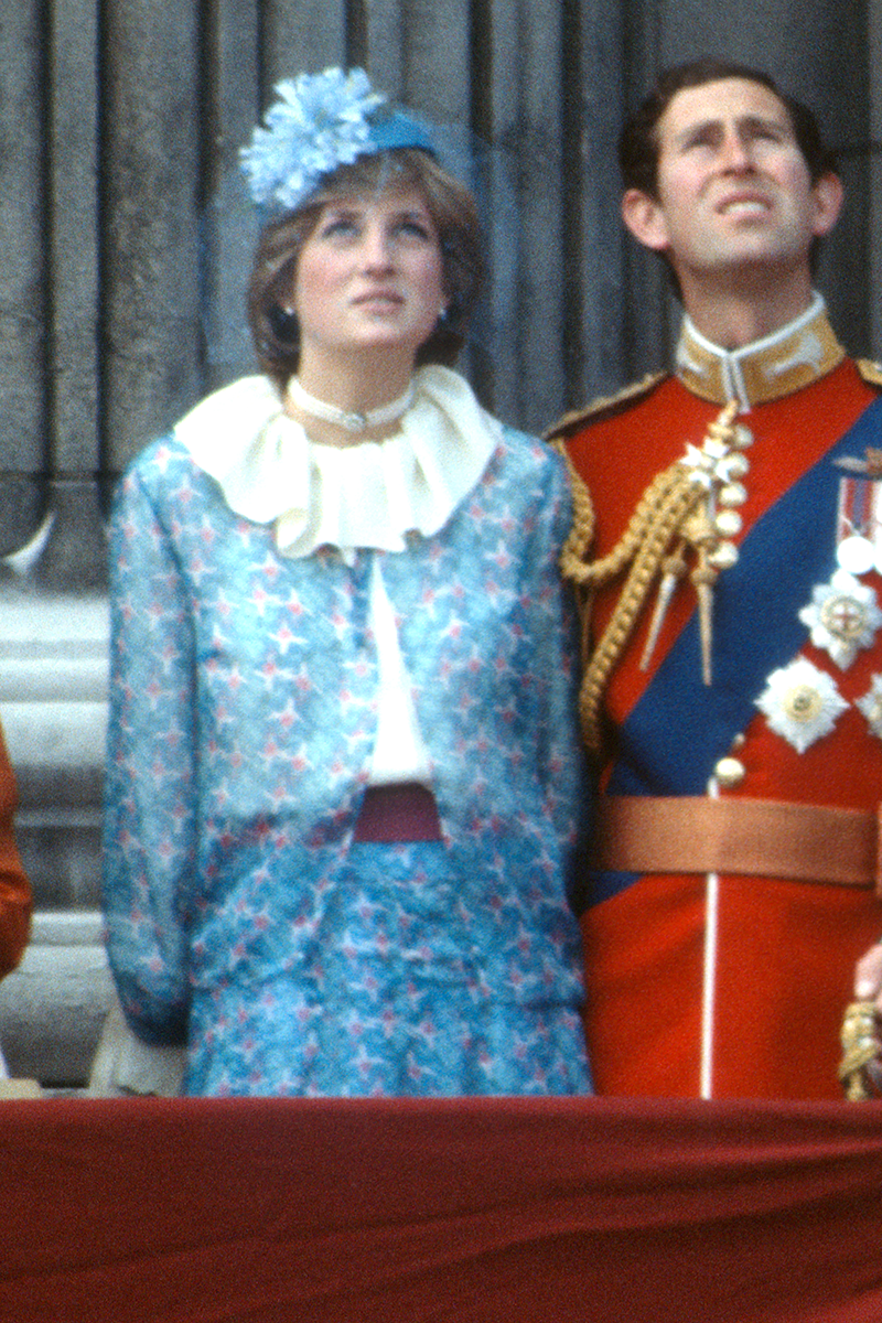 <p>For the 1981 Trooping the Colour parade, Di opted for this sky blue geometric co-ord, complete with one of her favourite ruffle collars which she expertly accessorised with an ornate pearl choker necklace.</p>