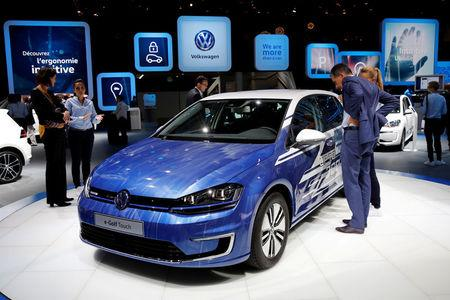 FILE PHOTO: The Volkswagen e-Golf Touch car is displayed on media day at the Paris auto show in the French capital. September 29, 2016. REUTERS/Benoit Tessier/File Photo