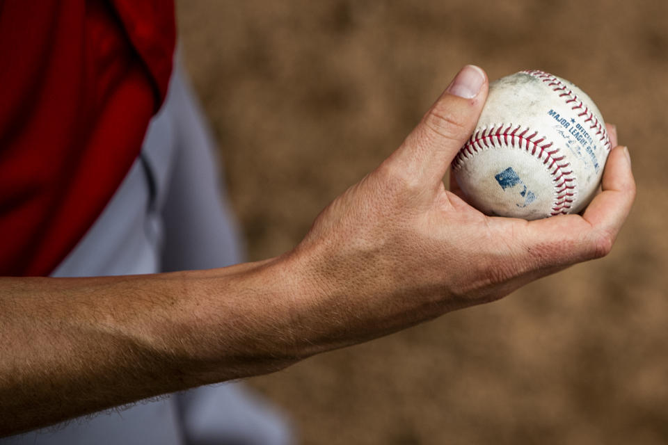 FORT MYERS, FL - FEBRUARY 28:  A detail shot of the grip used by Daniel Gossett #73 of the Boston Red Sox in the bullpen during the Spring Training game the Minnesota Twins at CenturyLink Sports Complex on Sunday, February 28, 2021 in Fort Myers, Florida. (Photo by Adam Glanzman/MLB Photos via Getty Images)