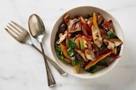 """Rainbow chard stems are among the tastiest in the greens department. They do take a bit longer to cook, so get them into the pan a bit before you add the green leaves. <a href=""""https://www.bonappetit.com/recipe/chard-chard-stems-sauteed-shiitakes?mbid=synd_yahoo_rss"""" rel=""""nofollow noopener"""" target=""""_blank"""" data-ylk=""""slk:See recipe."""" class=""""link rapid-noclick-resp"""">See recipe.</a>"""