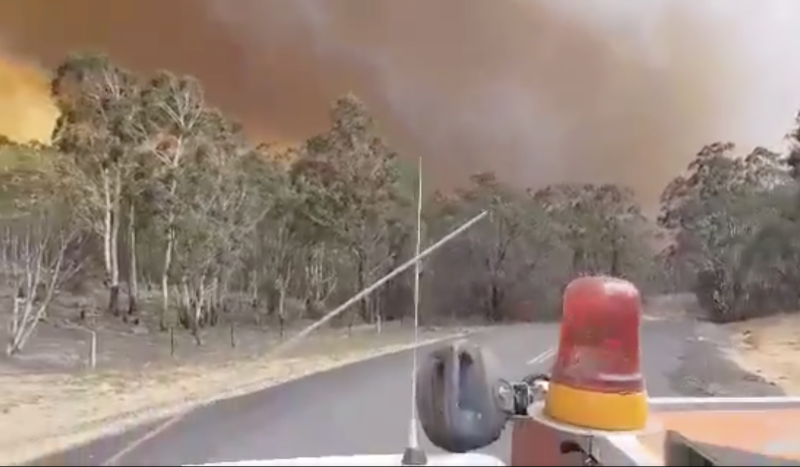 Footage from the ground in the aftermath of the NSW water-bombing tanker crash.