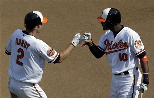 Baltimore Orioles' J.J. Hardy, left, fist bumps teammate Adam Jones after hitting a solo home run in the third inning of a baseball game against the Boston Red Sox in Baltimore, Sunday, Sept. 30, 2012. (AP Photo/Patrick Semansky)