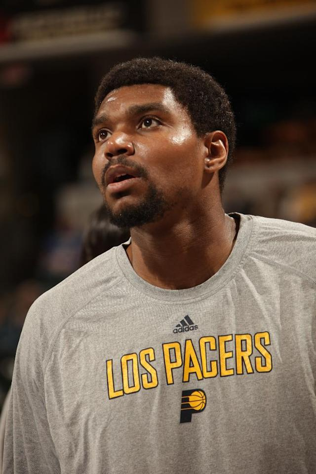 INDIANAPOLIS - MARCH 11: Andrew Bynum #17 of the Indiana Pacers warms up before the game against the Boston Celtics at Bankers Life Fieldhouse on March 11, 2014 in Indianapolis, Indiana. (Photo by Ron Hoskins/NBAE via Getty Images)