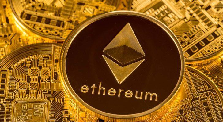 A stack of ether or ethereum coins on a gold background.
