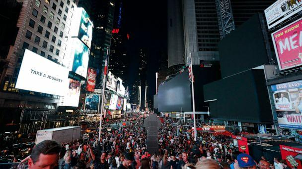 PHOTO: Screens in Times Square are black during a power outage, Saturday, July 13, 2019, in New York. (Michael Owens/AP)