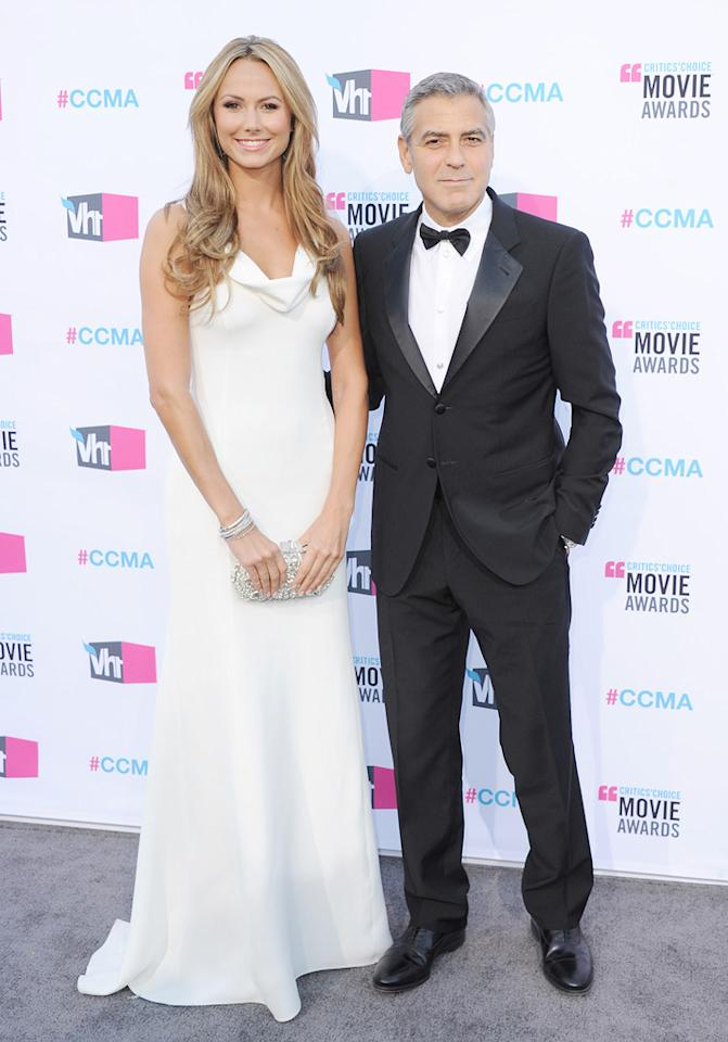 """<a href=""""http://movies.yahoo.com/movie/contributor/1808539914"""">Stacy Keibler</a> and <a href=""""http://movies.yahoo.com/movie/contributor/1800019715"""">George Clooney</a> at the 17th Annual Critics' Choice Awards in Hollywood on January 12, 2012."""