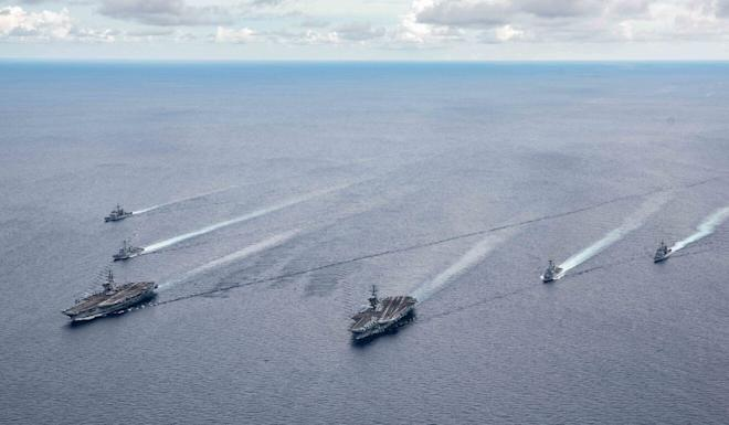 The USS Ronald Reagan and USS Nimitz aircraft carrier strike groups take part in a drill in the South China Sea earlier this month. Photo: EPA-EFE