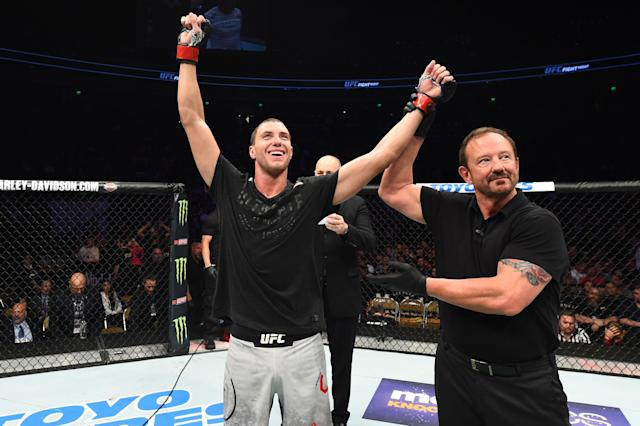 James Vick celebrates after his unanimous decision victory over Francisco Trinaldo of Brazil in their lightweight bout during the UFC Fight Night event at Frank Erwin Center on February 18, 2018 in Austin, Texas. (Getty Images)
