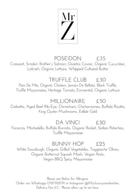 The sandwich menu at MR Z is pretty luxe. (Supplied Mr Z)