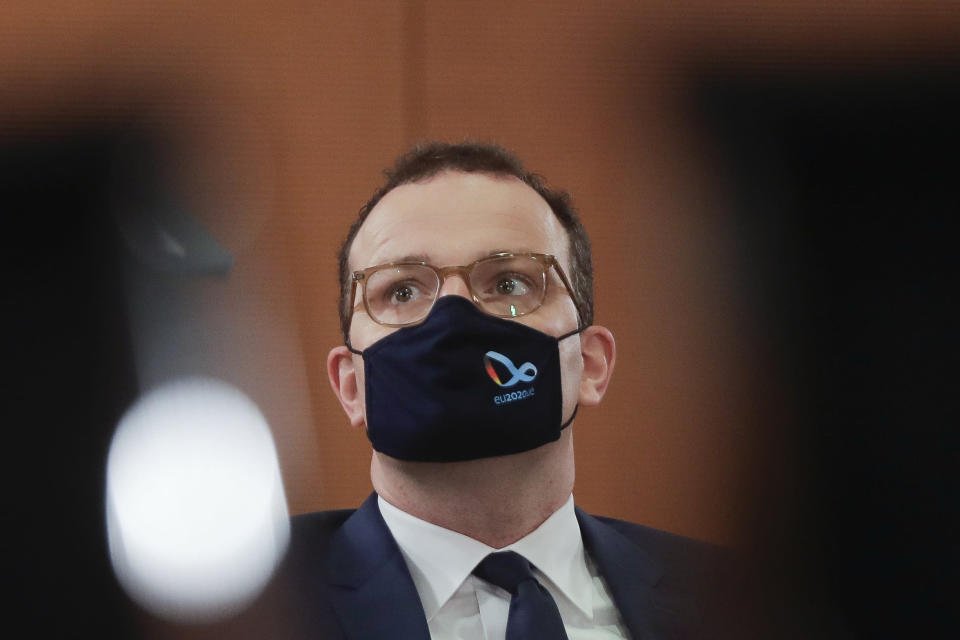 German Health Minister Jens Spahn attends the weekly cabinet meeting of the German government at the chancellery in Berlin, Wednesday, Oct. 21, 2020. Germany's Health Ministry said that Spahn tested positive on the corona virus Wednesday afternoon and is now in quarantine at home.(AP Photo/Markus Schreiber, Pool)