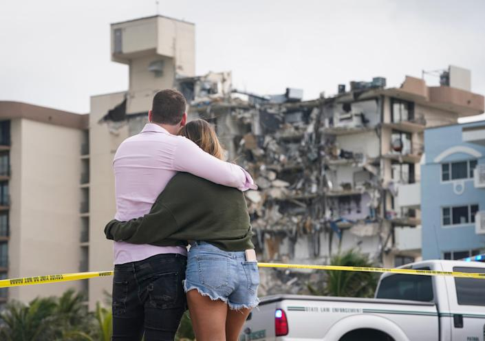The partially collapsed Champlain Towers South condo in Surfside, Florida Friday, June 25, 2021.