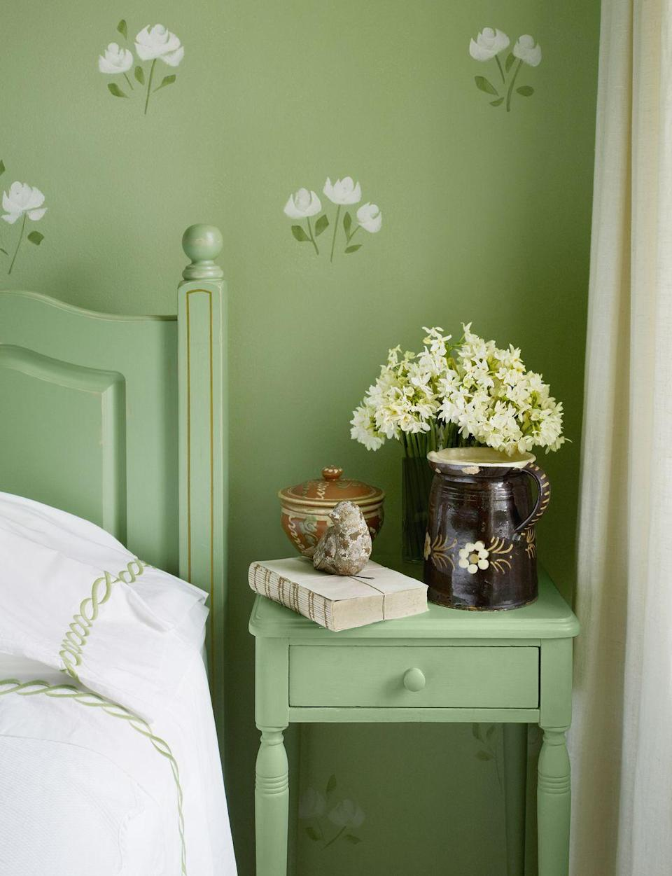 <p><strong>Paint Color: </strong>Lazy Caterpillar by Behr<br></p><p>Energize your space with a happy shade of green like this one in a bedroom designed by Mary Douglas Drysdale. </p>