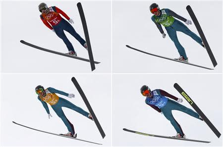 Combination picture showing (top L to R) members of the U.S. team Todd Lodwick, Taylor Fletcher, (bottom L to R) Bill Demong and Bryan Fletcher soaring through the air in their respective jumps during the trial round of the large hill ski jumping portion of the Nordic Combined team Gundersen event of the Sochi 2014 Winter Olympic Games, at the RusSki Gorki Ski Jumping Center in Rosa Khutor, February 20, 2014. REUTERS/Michael Dalder