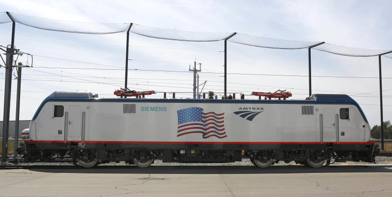 In this photo taken Saturday, May 11, 2013, is one of the new Amtrak Cities Sprinter Locomotives built by Siemens Rails Systems in Sacramento, Calif. The new electric locomotive will run on the Northeast intercity rail lines and replace Amtrak locomotives that have been in service for 20 to 30 years. (AP Photo/Rich Pedroncelli)