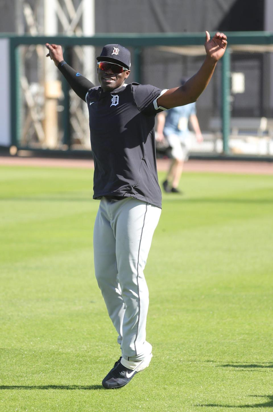 Tigers outfielder Daz Cameron goes through drills during spring training on Saturday, Feb. 27, 2021, at Publix Field at Joker Marchant Stadium in Lakeland, Florida.