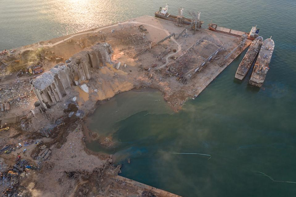 An aerial view of ruined structures at the Port of Beirut. (Getty)