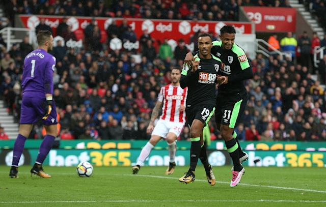 Junior Stanislas with Lys Mousset after he cooly slotted away his penalty to give us a 2-0 lead.