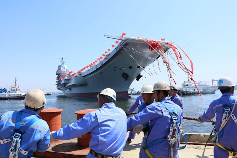 China First Domestically Built Aircraft Carrier Launch
