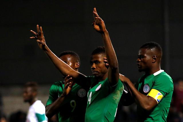 FILE PHOTO: Britain Football Soccer - Nigeria v Senegal - International Friendly - The Hive, Barnet, London, England - 23/3/17 Nigeria's Kelechi Iheanacho celebrates scoring their first goal Action Images via Reuters / Peter Cziborra Livepic /File Photo