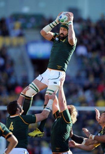 South Africa's Victor Matfield catches the ball during the 2011 Rugby World Cup quarter-final match South Africa vs Australia in Wellington, in 2011. Opinion is divided over whether one-time lord of the locks, Matfield, should come out of retirement and lead S.Africa in a three-Test home series against England this June