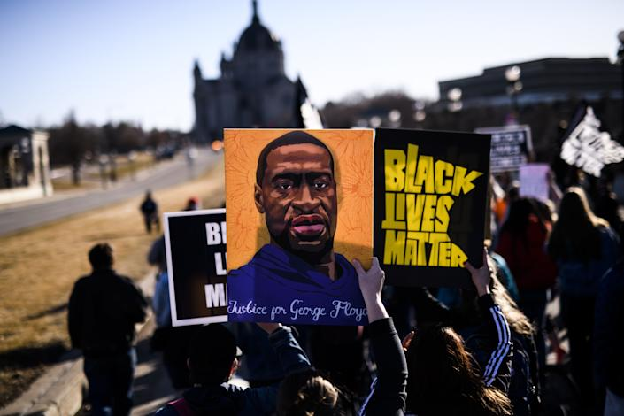 People march near the Minnesota State Capitol to honor George Floyd on March 19 in St. Paul, Minnesota. (Photo by Stephen Maturen/Getty Images) (Photo: Stephen Maturen via Getty Images)