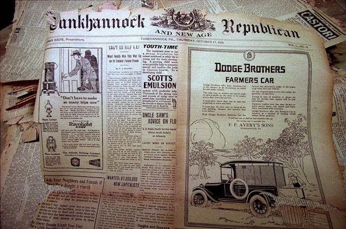 """One of the articles on the front page of the Tunkhannock Republican on Thursday, Oct. 17, 1918, features a story whose headline reads, """"Uncle Sam's Advice on Flu."""" The 1918 Spanish Flu killed 675,000 Americans."""