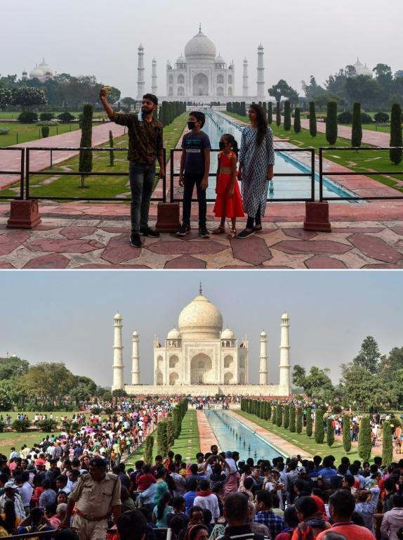 This combination photo shows tourists visiting the Taj Mahal on September 21, 2020 (top) and (bottom) a large crowd of tourists on October 20, 2018