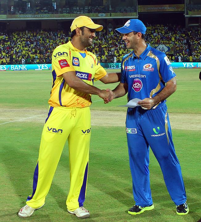 MS Dhoni and Ricky Ponting shake before the match during match 5 of of the Pepsi Indian Premier League between The Chennai Superkings and the Mumbai Indians held at the MA Chidambaram Stadiumin Chennai on the 6th April 2013..Photo by Ron Gaunt-IPL-SPORTZPICS ..Use of this image is subject to the terms and conditions as outlined by the BCCI. These terms can be found by following this link:..https://ec.yimg.com/ec?url=http%3a%2f%2fwww.sportzpics.co.za%2fimage%2fI0000SoRagM2cIEc&t=1503392507&sig=W486X.AOA5DVSDa1ThjdoQ--~D