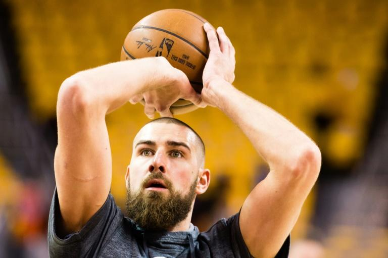 Jonas Valanciunas of the Toronto Raptors warms up prior to Game Two of the NBA Eastern Conference semi-finals against the Cleveland Cavaliers, at Quicken Loans Arena in Cleveland, Ohio, on May 3, 2017