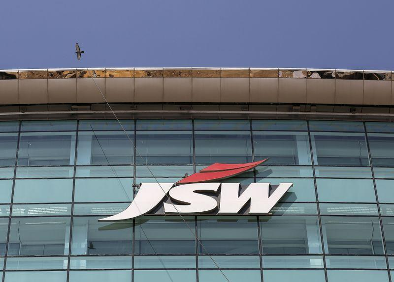 The logo of JSW is seen on the company's headquarters in Mumbai