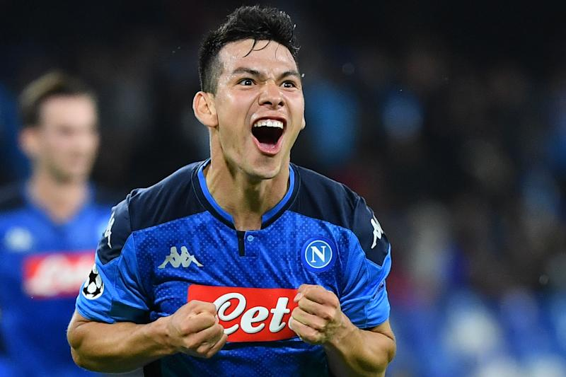 "Hirving ""Chucky"" Lozano celebrates his goal for Napoli in a 1-1 draw with RB Salzburg. (Getty)"