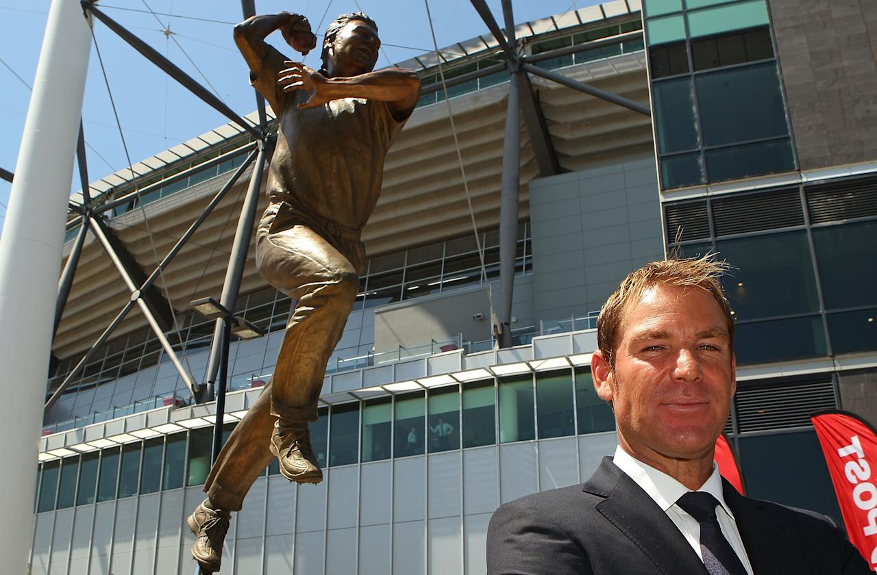 MELBOURNE, AUSTRALIA - DECEMBER 22:  Shane Warne poses during the unveiling of the Shane Warne statue at the Melbourne Cricket Ground on December 22, 2011 in Melbourne, Australia.  (Photo by Scott Barbour/Getty Images)