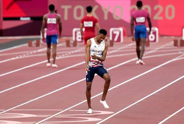 A false start from Zharnel Hughes led to his disqualification from the men's Olympic 100m final (Joe Giddens/PA)