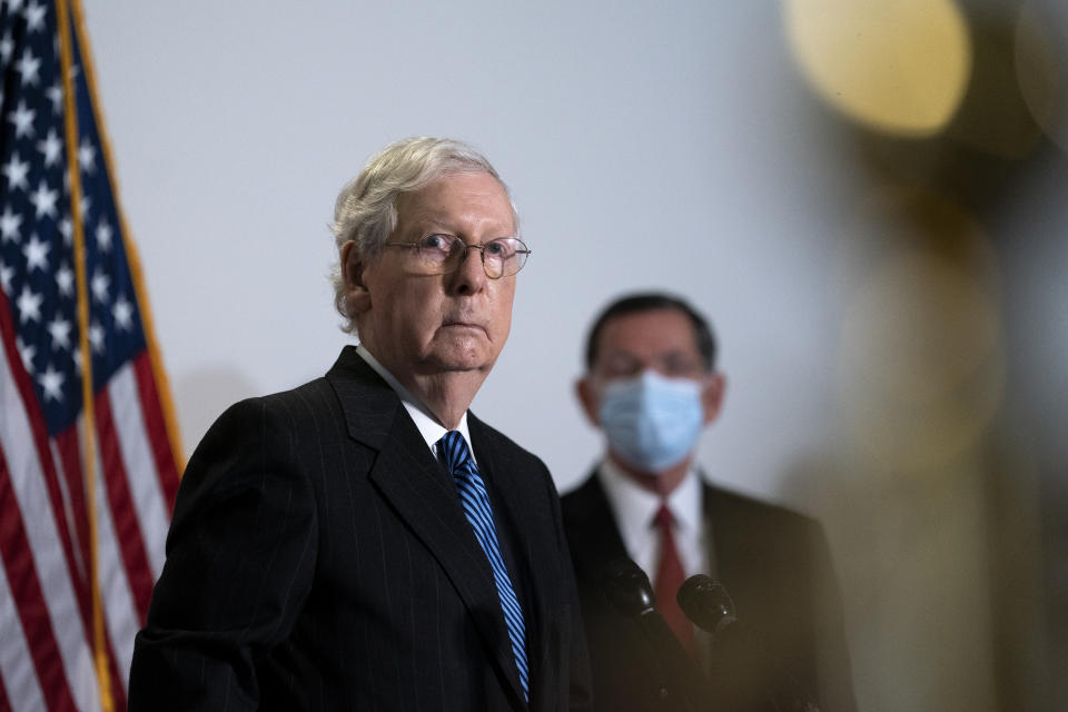 WASHINGTON, DC - OCTOBER 20: Senate Majority Leader Mitch McConnell (R-KY) (L) speaks during a news conference following the weekly Senate Republican policy luncheon in the Hart Senate Office Building on Capitol Hill on October 20, 2020 in Washington, DC. Senate Republicans are looking to hold a confirmation vote for Supreme Court nominee Amy Coney Barrett on Monday, October 26, approximately one week before the Presidential election. (Photo by Stefani Reynolds/Getty Images)