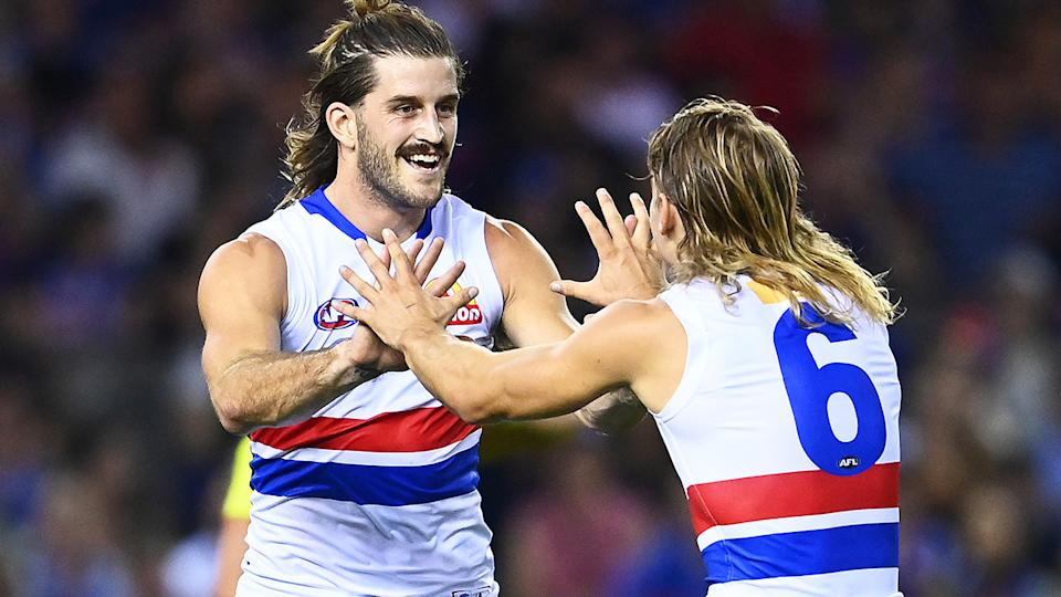 Western Bulldogs forward Josh Bruce booted 10 goals in their thrashing of North Melbourne on Good Friday. (Photo by Quinn Rooney/Getty Images)