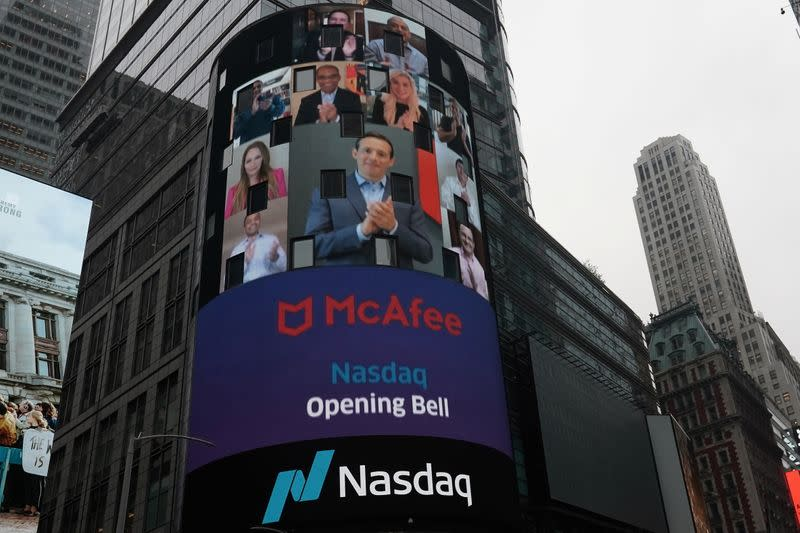 Cyber security firm McAfee holds a virtual IPO at NASDAQ Marketsite
