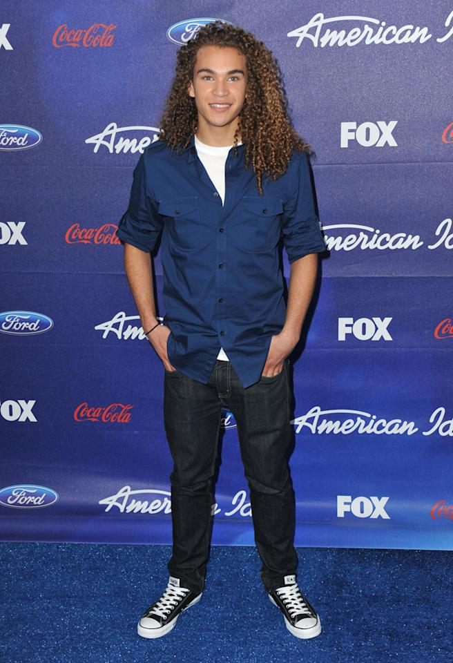 """Finalist DeAndre Brackensick attends the Season 11 """"<a href=""""http://tv.yahoo.com/american-idol/show/34934"""">American Idol</a>"""" Top 13 Finalists Party on Thursday, March 1 at The Grove in Los Angeles, CA."""