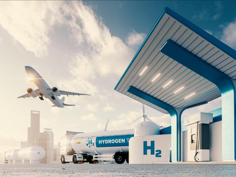 Hydrogen gas station with lorry and aeroplane  (Getty )