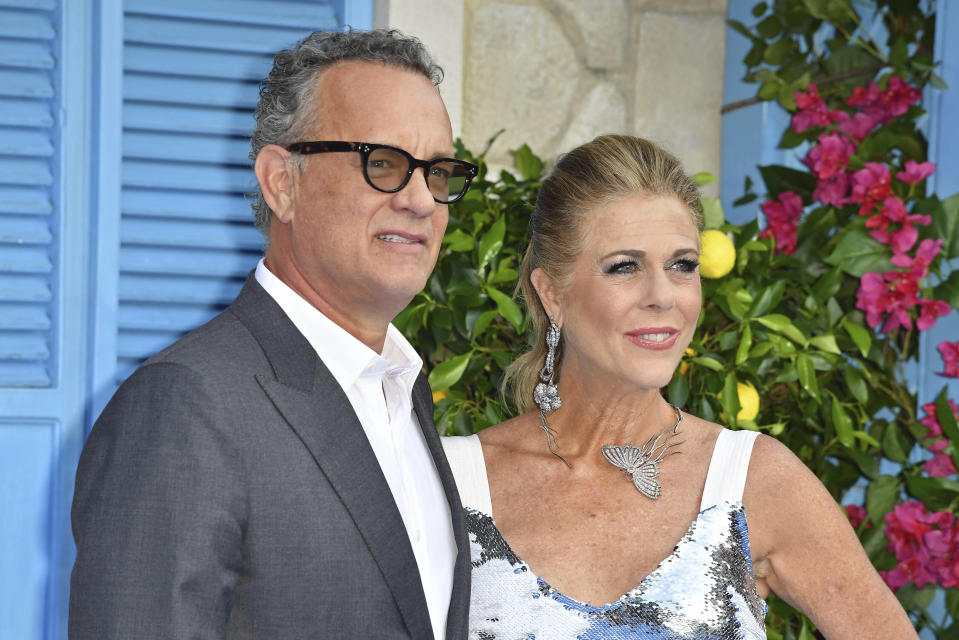 "Photo by: KGC-143/STAR MAX/IPx 2020 7/27/20 Tom Hanks and Rita Wilson are officially Greek Citizens. STAR MAX File Photo: 7/16/18 Tom Hanks and Rita Wilson at the premiere of ""Mamma Mia! Here We Go Again"" in London, England."
